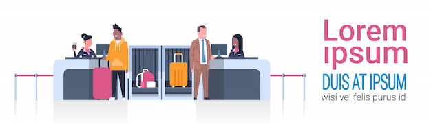Airport workers on counter checking in male passengers, departures board concept Premium Vector