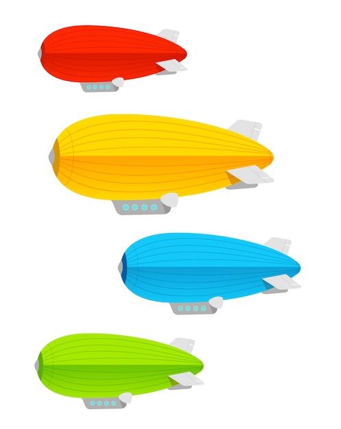 Красочный набор дирижаблей. концепция логистики Premium векторы