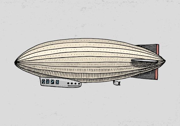 Дирижабль или дирижабль или дирижабль или дирижабль. для путешествия. гравированные рисованной в старом стиле эскиза, старинный транспорт. Premium векторы