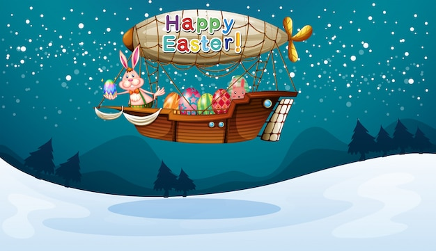 An airship with a happy easter greeting Free Vector