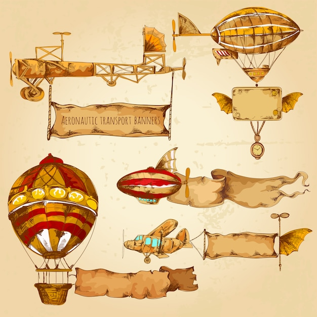 Airships with banners Free Vector
