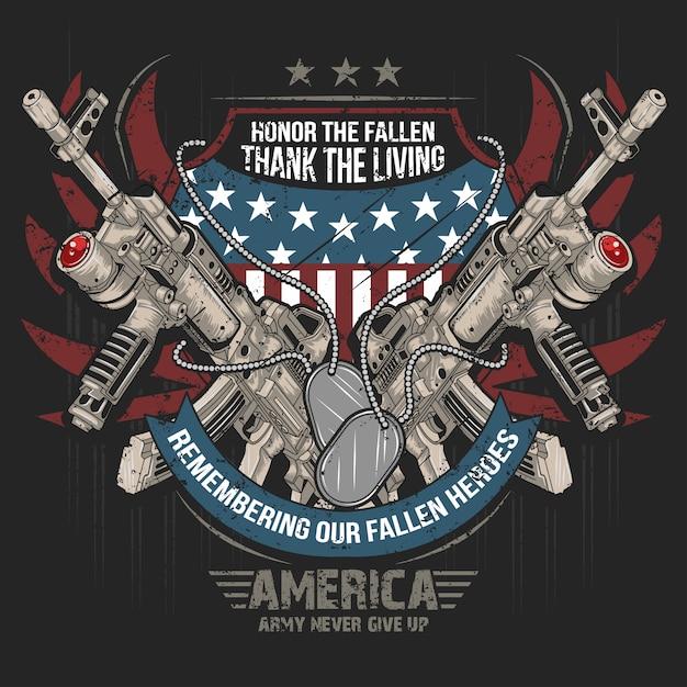 アメリカ武器銃ak機械銃ベクトルアメリカflag artwork Premiumベクター