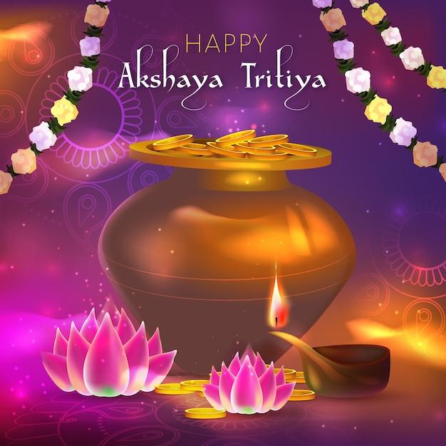 Illustrazione di evento di tritiya di akshaya con le monete Vettore gratuito