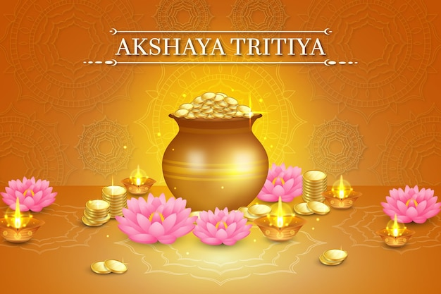 黄金のコインと蓮の花のアクシャヤトリティヤイベントイラスト Premiumベクター
