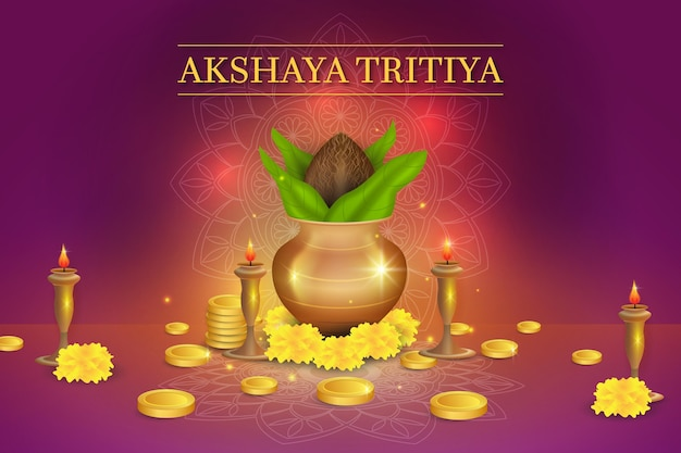 Akshaya tritiya event illustration with golden coins and ornaments Free Vector
