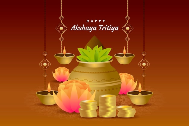 Akshaya tritiya event illustration with plants and candles Free Vector