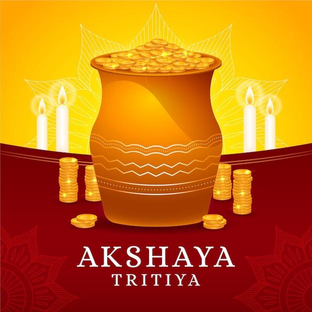 Illustrazione di tritiya di akshaya con monete d'oro Vettore gratuito