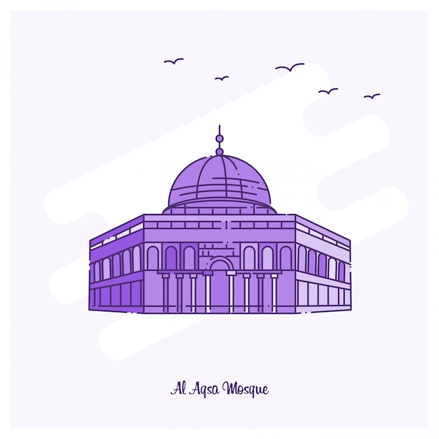 Al aqsa mosque landmark Premium Vector