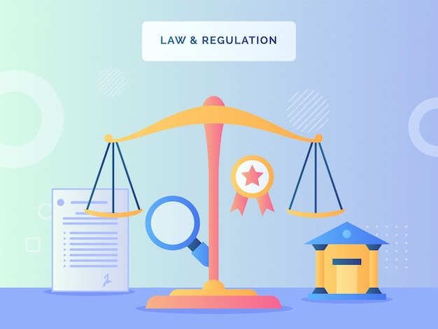 Alance scale in front court lupe agreement letter ribbon law regulation concept with flat style. Premium Vector