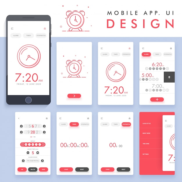 Alarm App Design Vector Premium Download