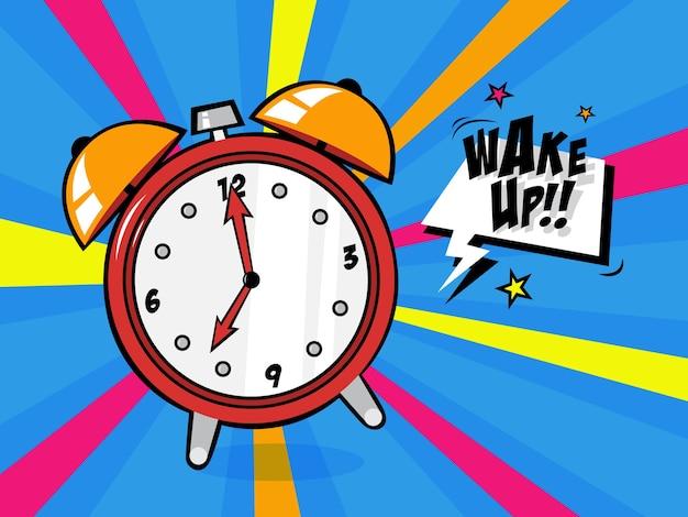 ポップなアートスタイルの目覚まし時計。ベルリング付きヴィンテージウェイクアップタイマー。図 Premiumベクター