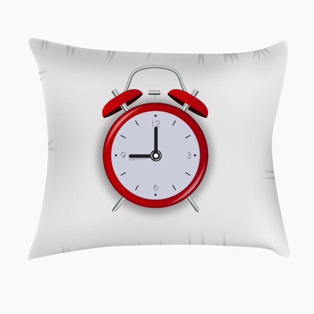 Alarm clock on pillow. good night concept. Premium Vector