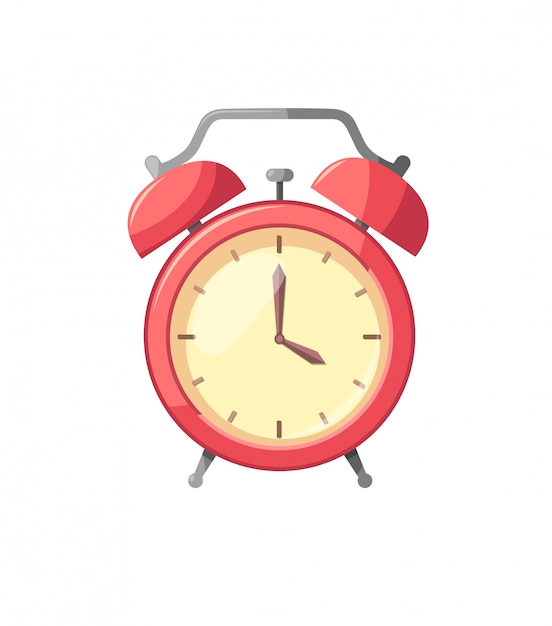 Alarm clock red isolated on white in flat style illustration Premium Vector