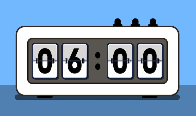 Alarm clock with analog boarding font Premium Vector