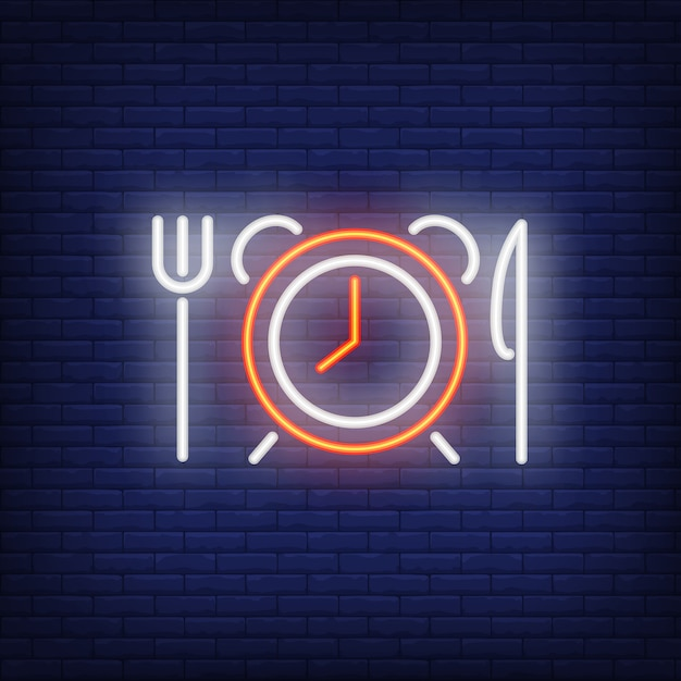 Alarm clock with fork and knife neon sign Free Vector