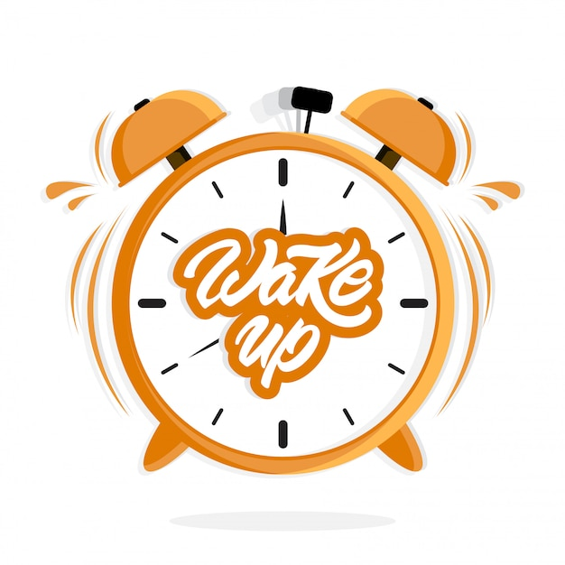 Alarm clock with lettering Premium Vector