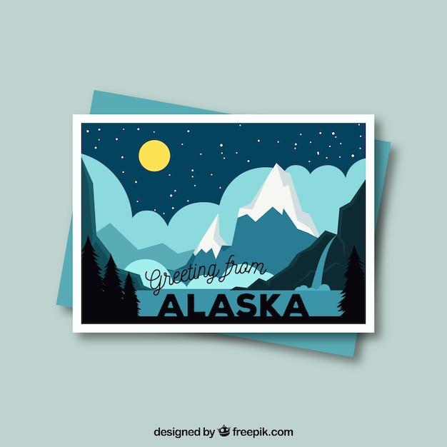 Alaska postcard template with flat design Free Vector