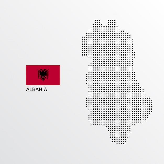 Progettazione della mappa dell'albania con la bandiera e il vettore leggero del fondo Vettore gratuito