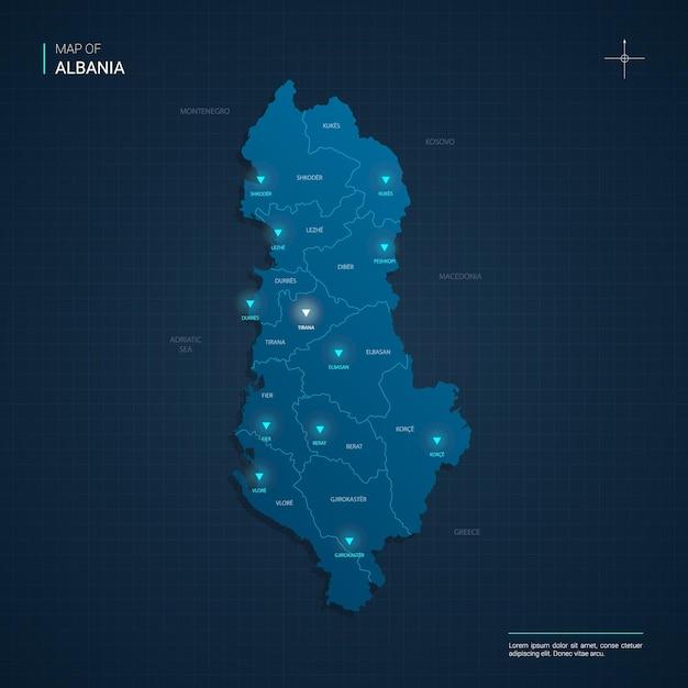 青いネオンライトポイントのあるアルバニアの地図 Premiumベクター