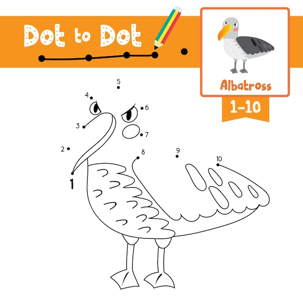 Albatross dot to dot game and coloring book Premium Vector