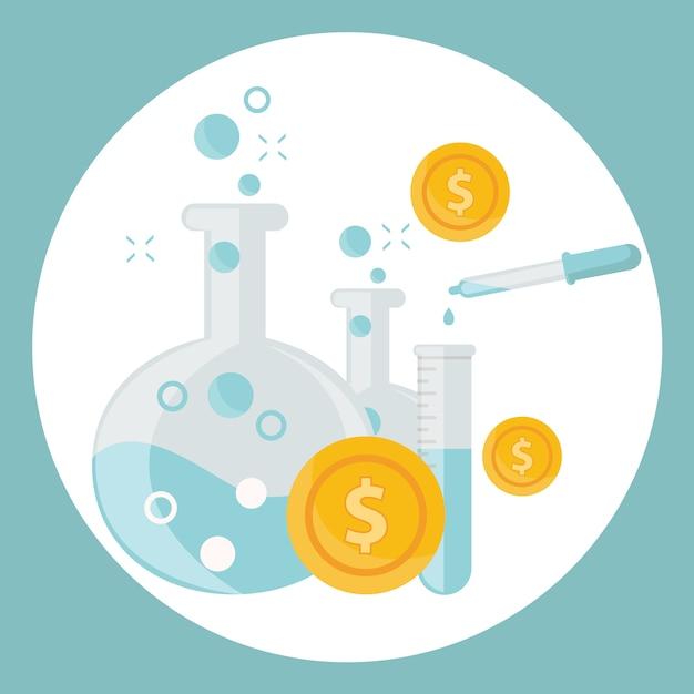 Алхимический эксперимент по генерированию денег и идей с помощью лабораторного оборудования Premium векторы