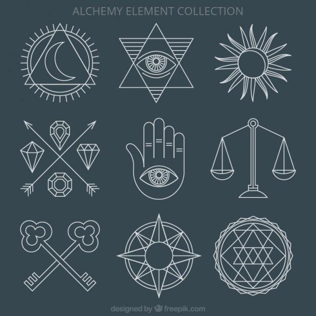 Alchemy ornaments and symbols Premium Vector