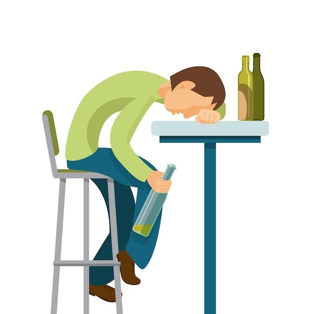 Концепция злоупотребления алкоголем. парень слишком много выпил. Premium векторы