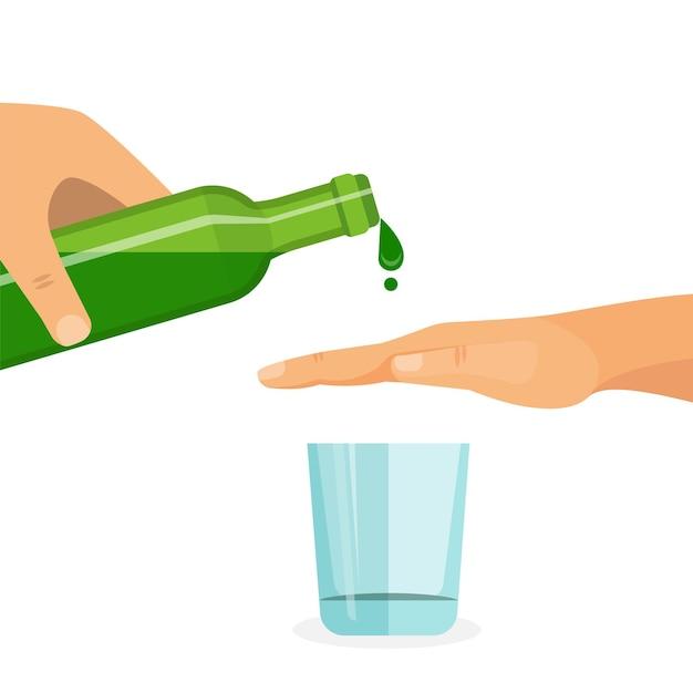 Концепция злоупотребления алкоголем. рука мешает наполнить стакан напитком. Premium векторы