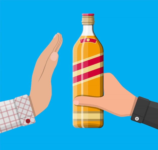 Alcohol abuse concept. Premium Vector