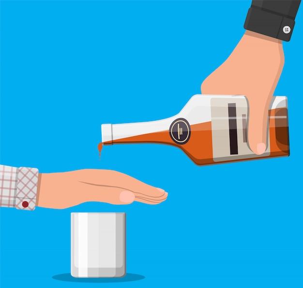 Alcohol abuse concept. Premium Vector