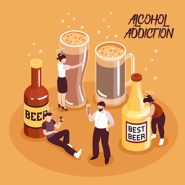 Изометрические композиции злоупотребления алкоголем человеческие персонажи с пивом в бутылках и стаканах на песке фоне векторные иллюстрации Premium векторы