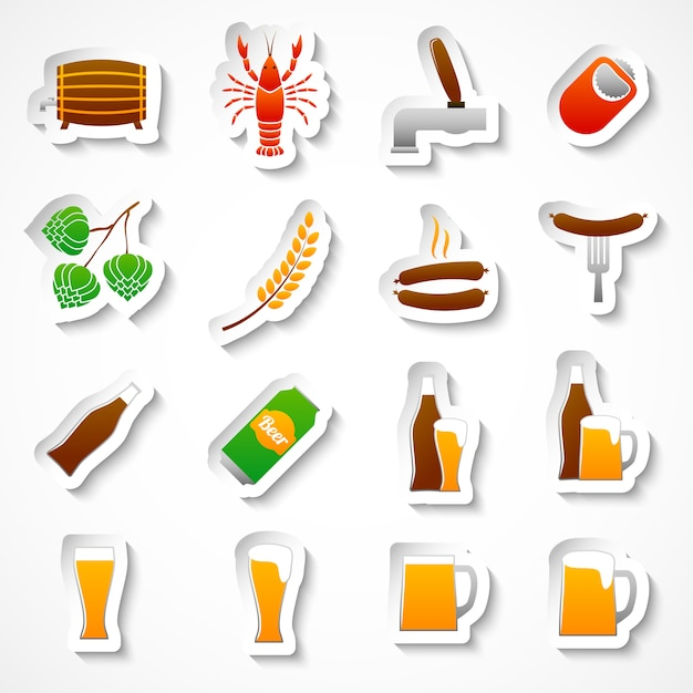 Alcohol beer party stickers set Free Vector