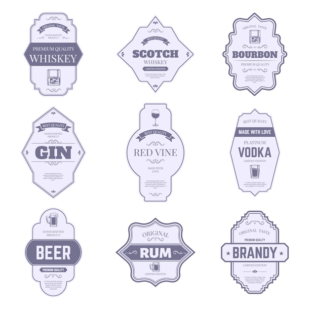 Alcohol bottle labels. traditional alcohol stickers, vintage bourbon and gin bottle emblem, bar drink packaging tags   symbols set. wine, whiskey and beer, scotch and brandy, vodka badge Premium Vector