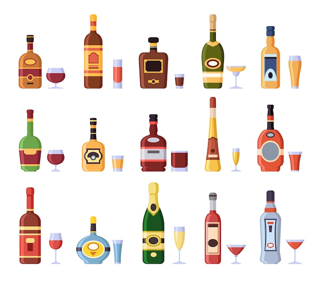 Alcohol bottles and glasses. alcoholic bottle with cider, vermouth in glass or liqueur shot and wineglasses isolated set Premium Vector