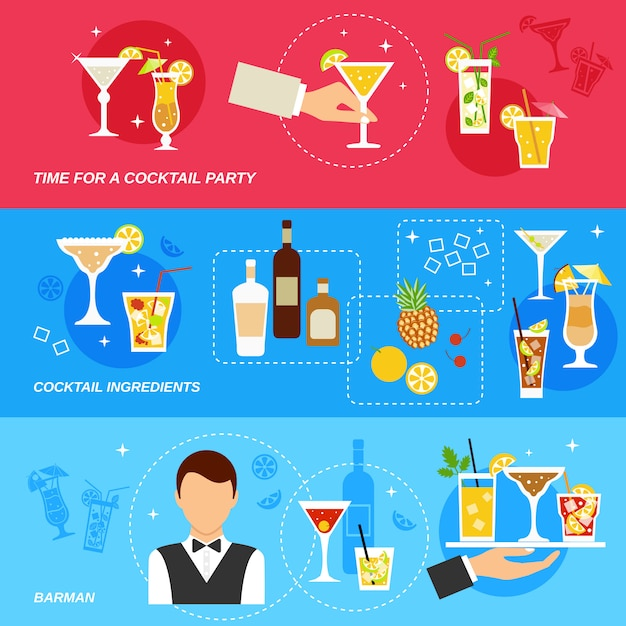 Alcohol cocktails banner set Free Vector
