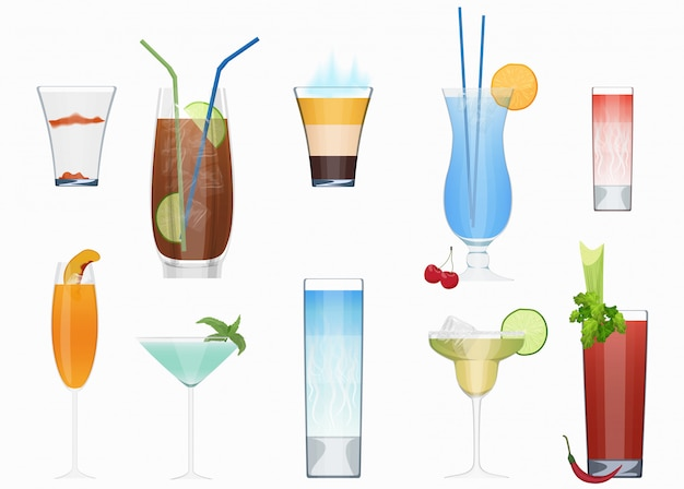 Alcohol cocktails set Premium Vector