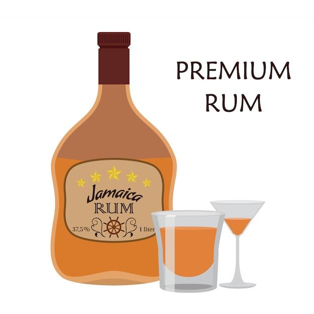 Alcohol drink, rum with glass. jamaica rum Premium Vector