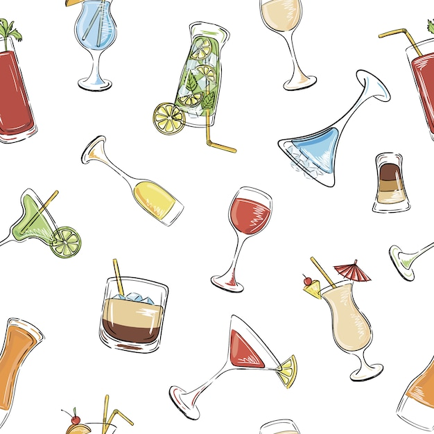 Alcohol drinks and cocktails seamless pattern. Premium Vector