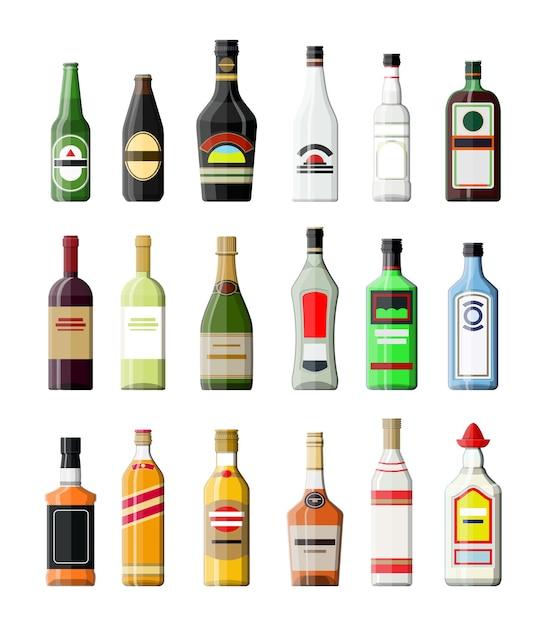Коллекция алкогольных напитков. бутылки с водкой шампанское вино виски пиво бренди текила коньяк ликер вермут джин ром абсент самбука сидр бурбон .. Premium векторы