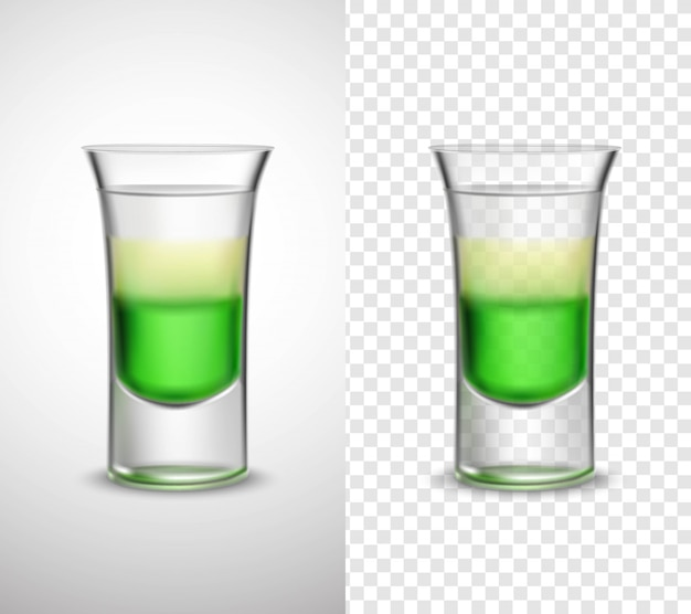 Alcohol  drinks colored glassware transparent banners Free Vector