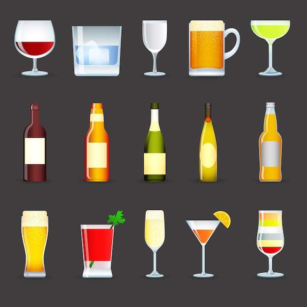 Alcohol drinks icons set Free Vector