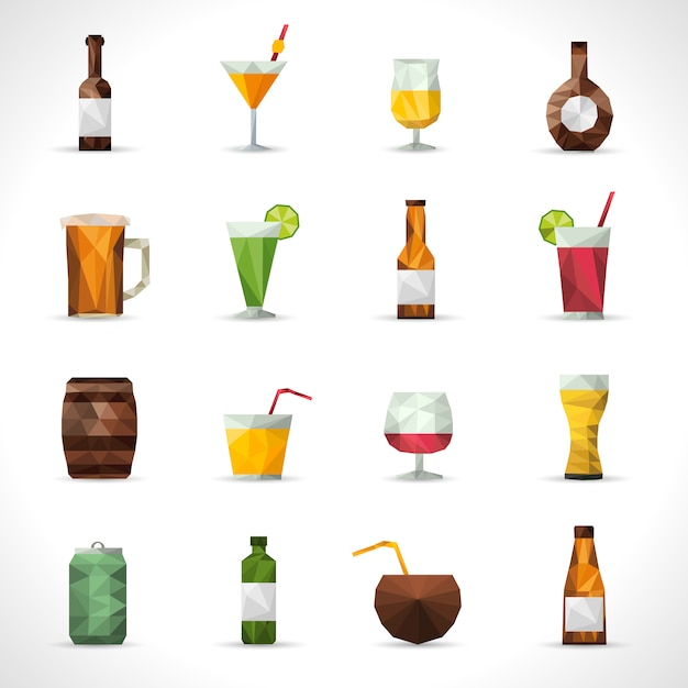 Alcohol drinks polygonal icons Free Vector
