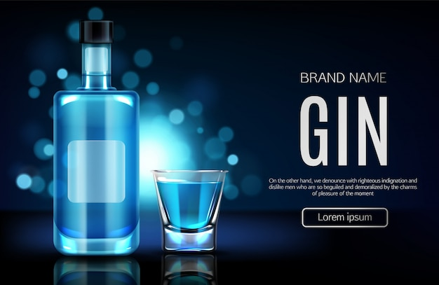 Alcohol drinks store realistic vector webpage Free Vector
