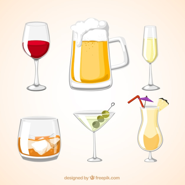 Alcohol drinks Free Vector