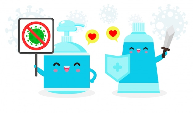 Alcohol gel cute character. hand wash gel and sign stop coronavirus (2019-ncov), alcohol gel attack covid-19, protection against viruses and bacteria, healthy lifestyle isolated on white background Premium Vector