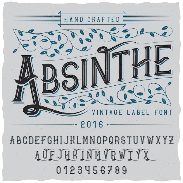 Алкоголь ручной работы плакат со словом абсент и алфавит Бесплатные векторы