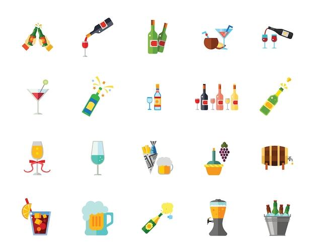 Alcohol icon set Free Vector