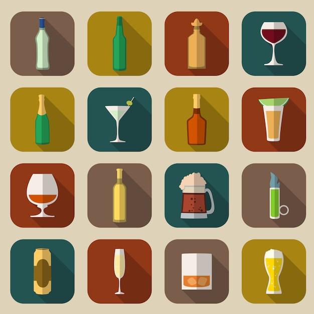Alcohol icons flat Premium Vector