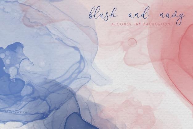 赤面と紺色のアルコールインクの背景 無料ベクター