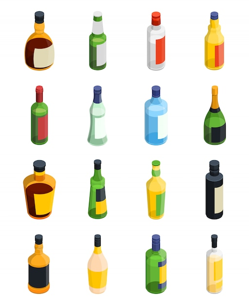 Alcohol isometric icon set Free Vector